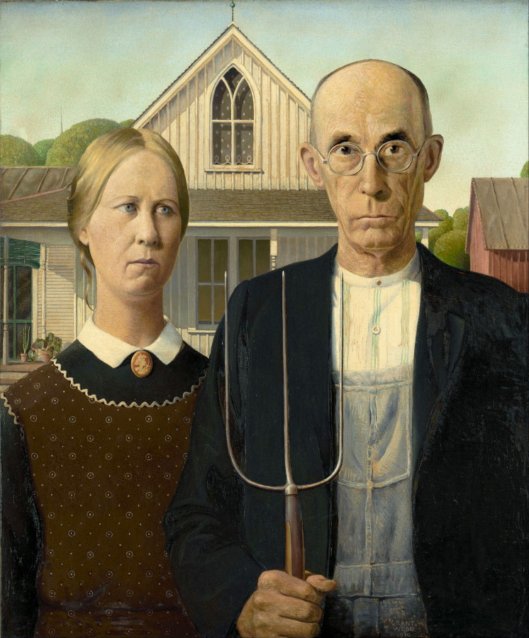 "Grant Wood, ""American Gothic"", Art Institute of Chicago"